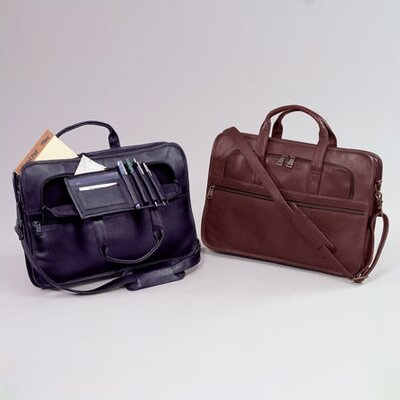 Cowhide Leather Slim Briefcase with Organizer