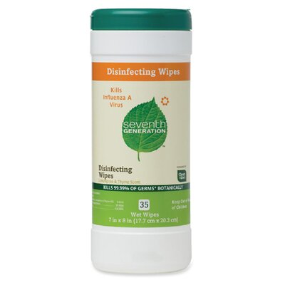 Seventh Generation Disinfecting Wipes, 35 Wipes, Lemongrass