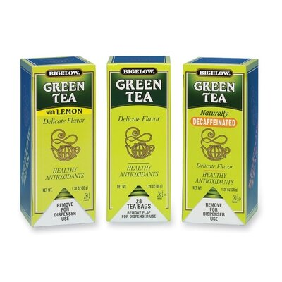 Bigelow Tea Company Green Teas, Green Tea/Green Tea w/ Lemon or Decaf., 168 per Carton