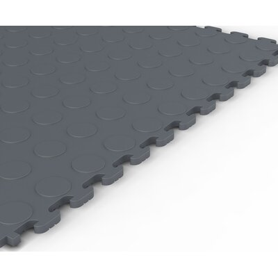 Norsk Floor Raised Coin Multi-Purpose PVC Floor Tile in Dove Gray (Pack of 6)