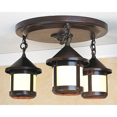 Arroyo Craftsman Berkeley 3 Light Semi Flush Mount
