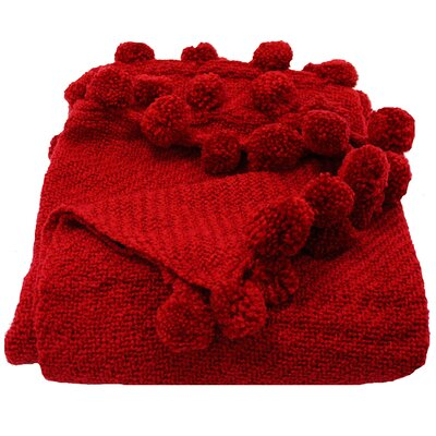 Woven Workz Jubilee 3 Dimensional Pom Pom Fringe Throw