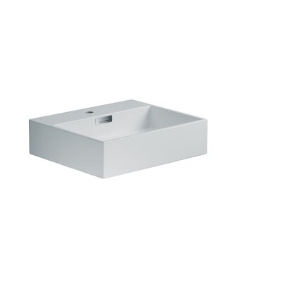 "WS Bath Collections Linea 19.7"" x 16.5"" Quarelo Vessel Sink in White"