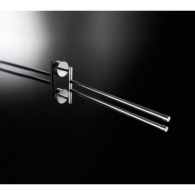 "WS Bath Collections Duemila 15.3"" x 5.7"" Flexible Double Towel Bar in Polished Chrome"