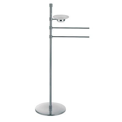 "WS Bath Collections Complements 10.8"" x 10.8"" Rampin Towel Stand with Two Straight Arms and Soap Dish Dispenser in Polished Chrome"