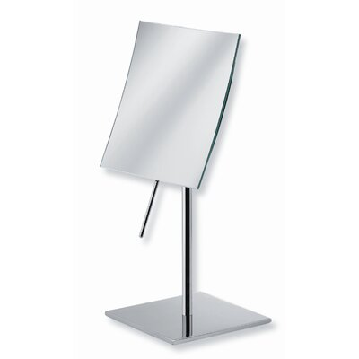 "WS Bath Collections Mirror Pure 5.9"" Mevedo Free Standing Make Up Magnifying Mirror in Stainless Steel"