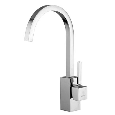 WS Bath Collections Domino One Handle Single Hole Kitchen Faucet with High Swivel Spout