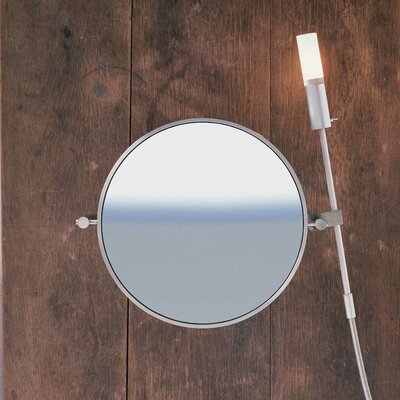 "WS Bath Collections WS1 Wall-mount Magnifying (5X) Makeup Mirror with Halogen Light, 8.6"" Extension"