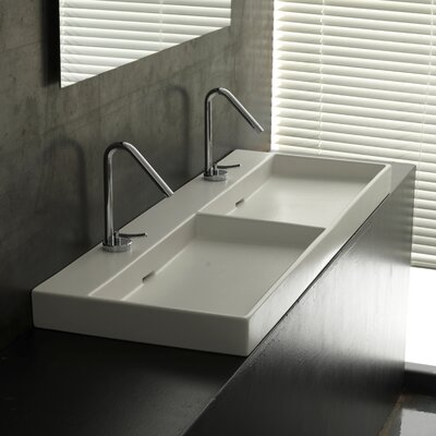 "WS Bath Collections Urban 47"" X 18"" Ceramic Double Bathroom Sink"