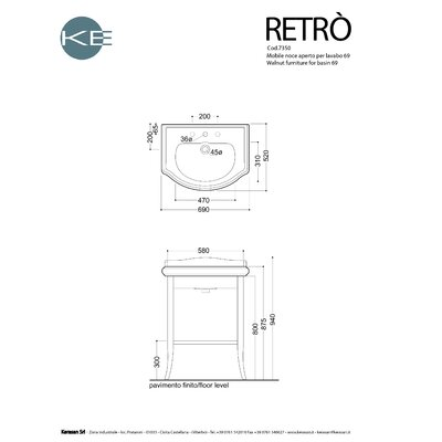 "WS Bath Collections Kerasan Retro 27.2"" Single Console Bathroom Vanity Set"