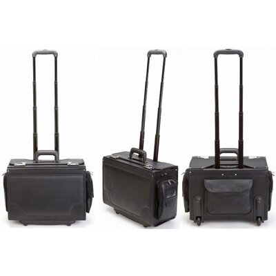 Korchmar Ultimate Leather Wheeled Catalog Case in Black