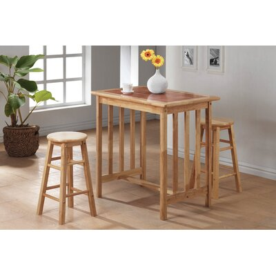 Wildon Home ® 3 Piece Counter Height Bar Table Set with Terracotta Tile Top in Natural