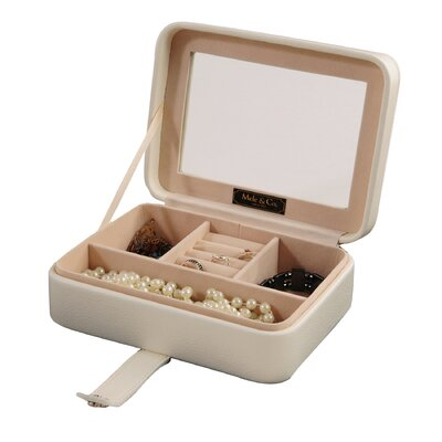 Rio Glass Top Jewelry Box in Ivory