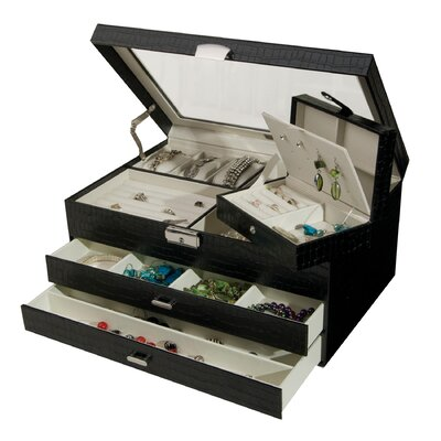& Co. Alana Glass Top Locking Jewelry Box in Black