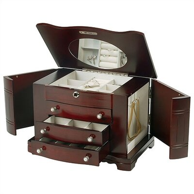 & Co. Rita Locking Jewelry Box with Pearl Pulls in Cherry