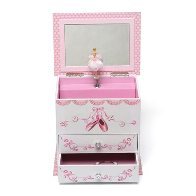 Mele & Co. Angel Girl's Wooden Musical Ballerina Jewelry Box with Fashion Paper Overlay