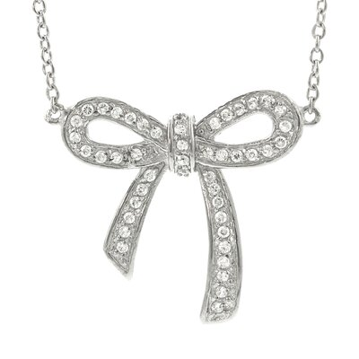 "Skyline Silver Sterling Silver CZ ""Pave Bow"" Necklace"