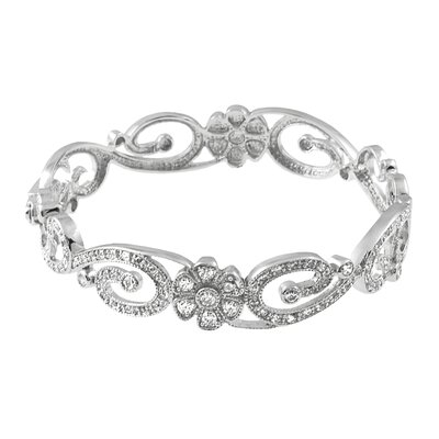 Sterling Silver CZ and Polished Locking Bracelet