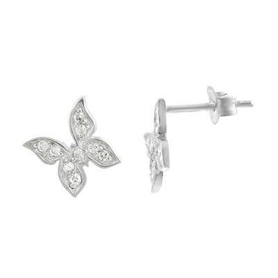 "Skyline Silver Sterling Silver CZ 0.34"" Pave Butterfly Necklace and Earring Set"