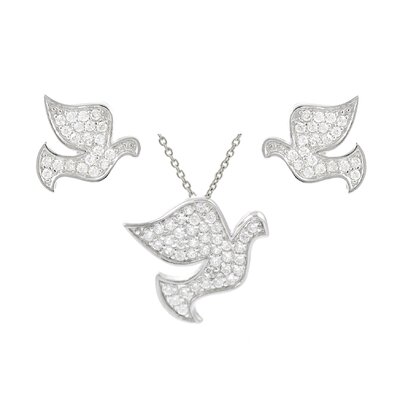 Sterling Silver CZ Pave Dove Necklace and Earring Set