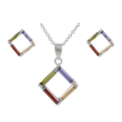 Sterling Silver Multicolored Square Necklace and Earring Set