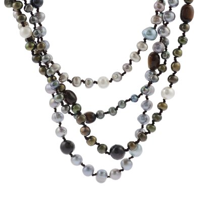 Skyline Silver Multi-colored Dyed Pearl Necklace with Tigers Eye