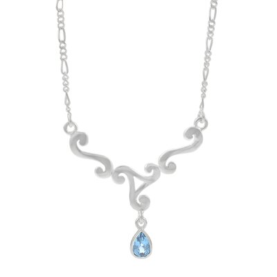 Skyline Silver Sterling Silver Triskele with Blue Topaz Necklace