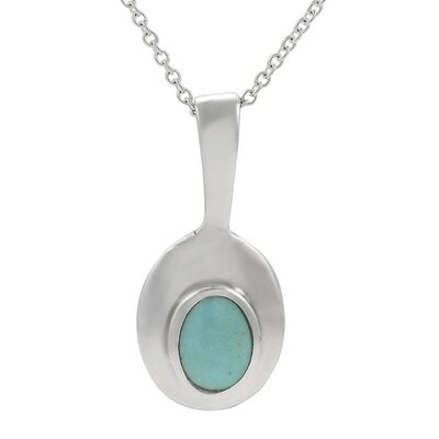 "Skyline Silver Sterling Silver 0.4"" with Oval Turquoise Necklace"