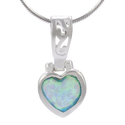 Skyline Silver Sterling Silver Heart with Blue Opal Necklace