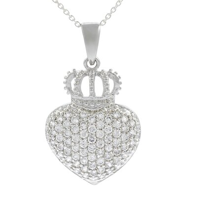 Sterling Silver CZ Pave Heart with Crown Necklace