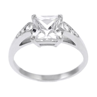 Sterling Silver Square Cut CZ Ring