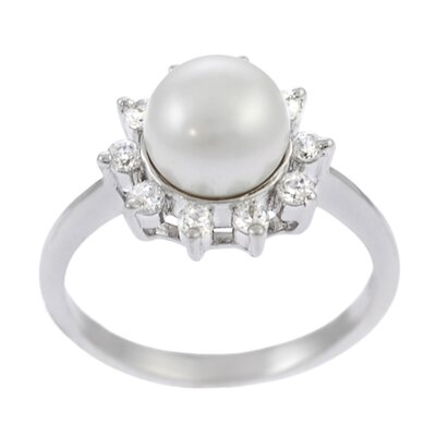 Sterling Silver Ring with Grey Pearl Center and CZ Accents