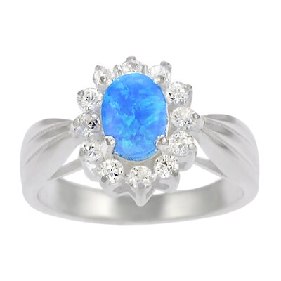 Sterling Silver Oval Blue Opal with CZ Accent Ring