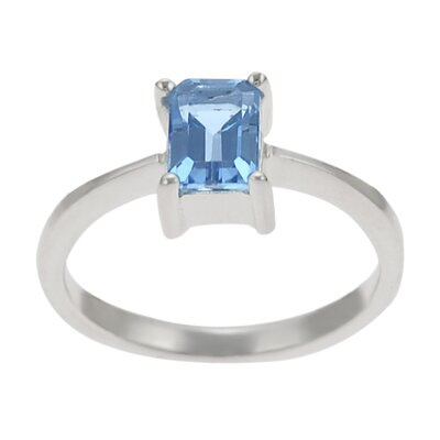 Skyline Silver Sterling Silver Genuine Emerald Cut Solitaire Ring