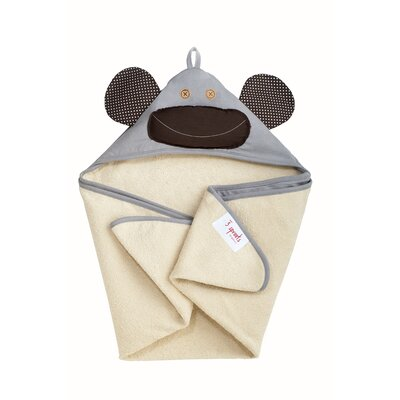 3 Sprouts Gray Monkey Hooded Towel
