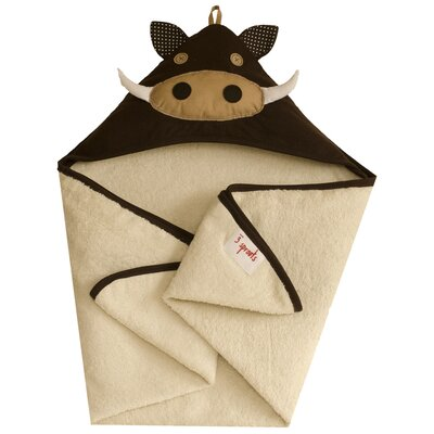 3 Sprouts Brown Warthog Hooded Towel