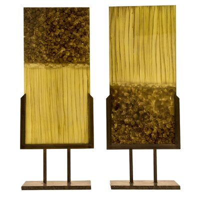 Ambiente Handmade Sculptural Panels with Iron Stands in Beige and Caramel (Set of 2)