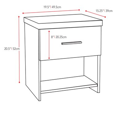 dCOR design Willow 1 Drawer Nightstand