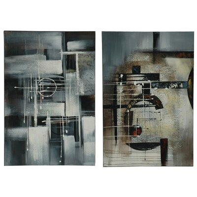 "Crestview Collection Abstract Stretched Canvas 32"" x 48"" (Set of 2)"