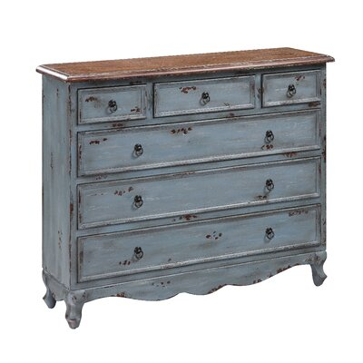 Crestview Collection Six Drawer Cabinet in Distressed Blue Grey