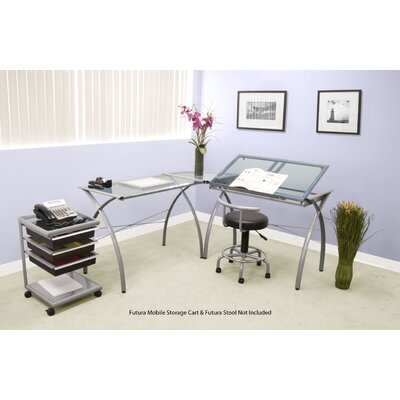 Studio Designs Futura LS Work Table in Silver and Blue Glass