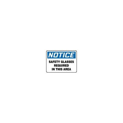 "Accuform Manufacturing Inc X 14"" Blue, Black And White Aluminum Value™ Personal Protection Sign Notice Safety Glasses Required In This Area"
