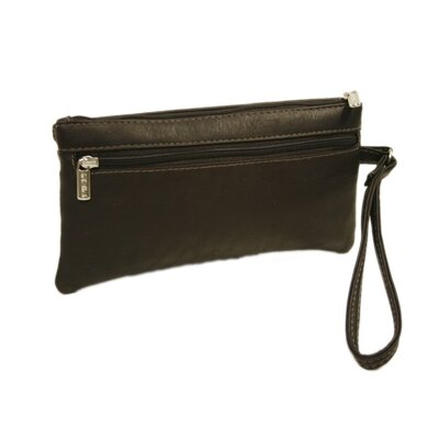 Piel Leather Fashion Avenue Flap-Over Wristlet in Black