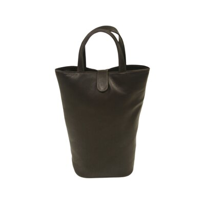 Piel Leather Fashion Avenue Double Wine Tote in Chocolate