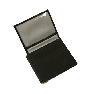 Small Leather Goods Bi-Fold Money Clip with ID Window in Black