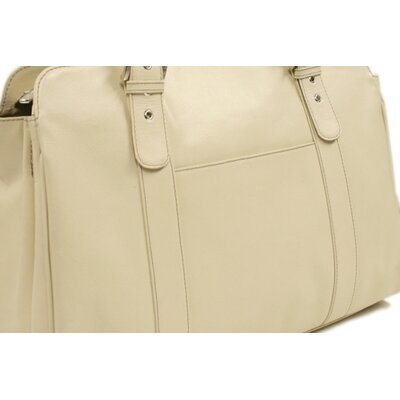Piel Leather Ladies Buckle Laptop Tote in Ivory