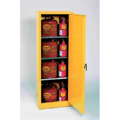 "Eagle Manufacturing Company 23"" X 65"" X 18"" Yellow 24 Gallon Safety Storage Cabinet With 2 Self-Closing Doors"