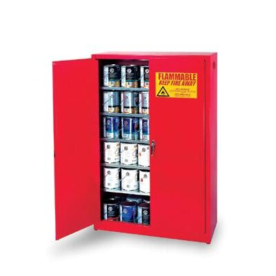 Eagle Manufacturing Company Gallon Red Five Shelf With Two Door Manual Close Paint And Ink Safety Storage Cabinet