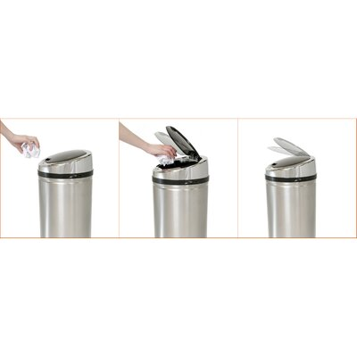 iTouchless 8 Gallon Automatic Touchless Trash Can in Brushed Stainless Steel