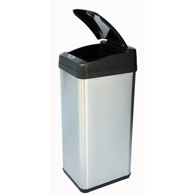 iTouchless Square Extra-Wide Opening Touchless Trash Can in Brushed Stainless Steel